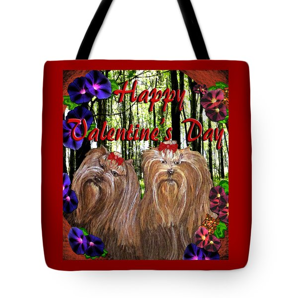 Tote Bag featuring the digital art Yorkie Valentine Card by Michelle Audas