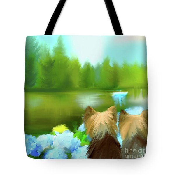 Tote Bag featuring the painting Yorkies At The Lago Negro by Catia Lee