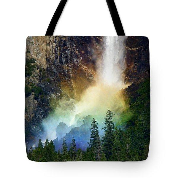 Yosemite Bridalveil Fall Rainbow Tote Bag by Jeff Lowe