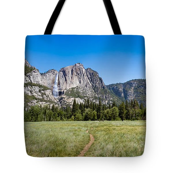 Tote Bag featuring the photograph Yosemite Falls And Valley Panorama by Phil Abrams