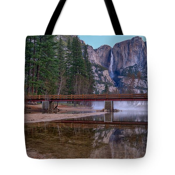 Yosemite Falls At The Swinging Bridge Tote Bag