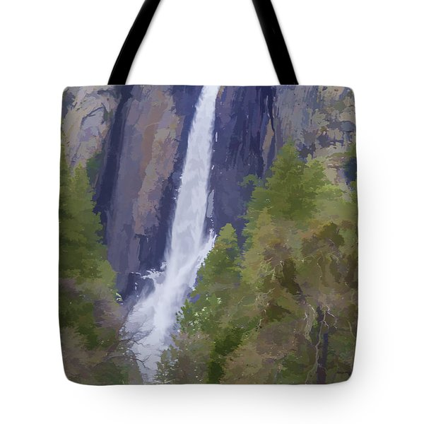 Yosemite Falls Digital Watercolor Tote Bag