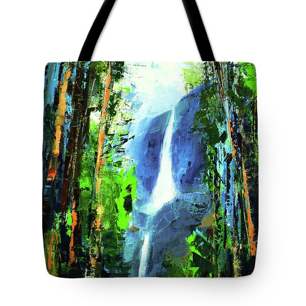 Tote Bag featuring the painting Yosemite Falls by Elise Palmigiani