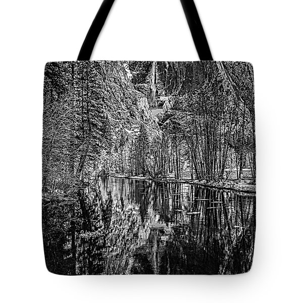 Tote Bag featuring the photograph Yosemite Falls From The Swinging Bridge In Black And White by Bill Gallagher