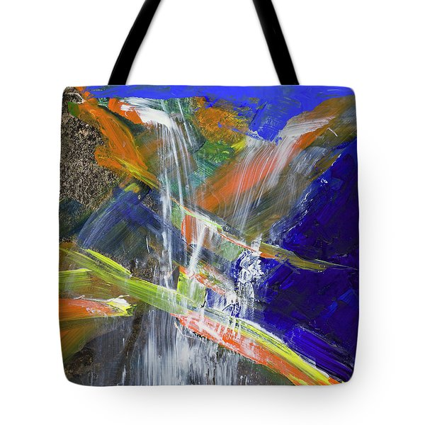 Tote Bag featuring the painting Yosemite Falls Summer Trickle  by Walter Fahmy