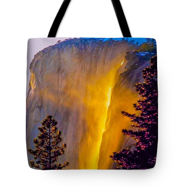 Yosemite Firefall Painting Tote Bag