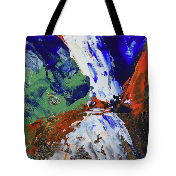 Tote Bag featuring the painting Yosemite Lower Falls  by Walter Fahmy