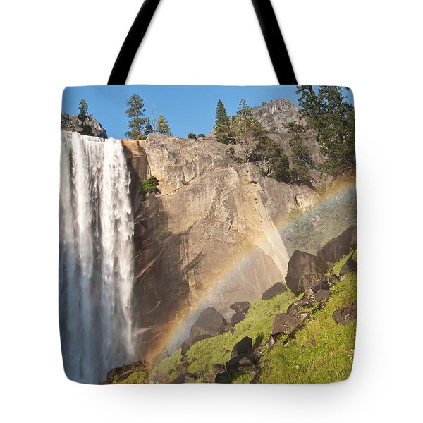 Yosemite Mist Trail Rainbow Tote Bag