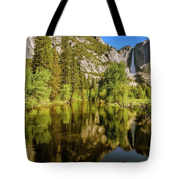 Tote Bag featuring the photograph Yosemite Reflections On The Merced River by John Hight