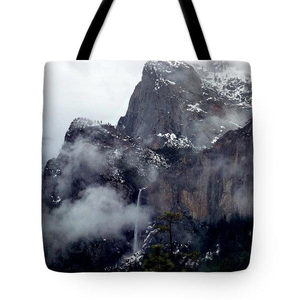 Yosemite Snowy Bridalveil Falls  Tote Bag by Jeff Lowe