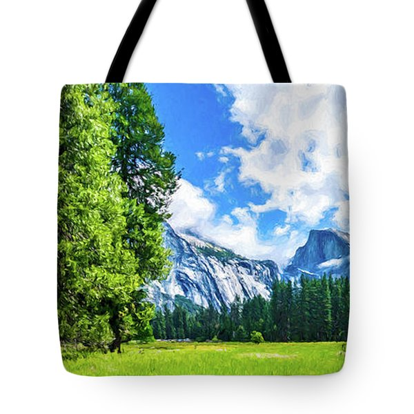Yosemite Valley And Half Dome Digital Painting Tote Bag