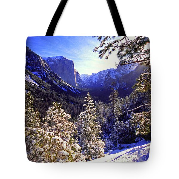 Yosemite Valley In Winter, California Tote Bag