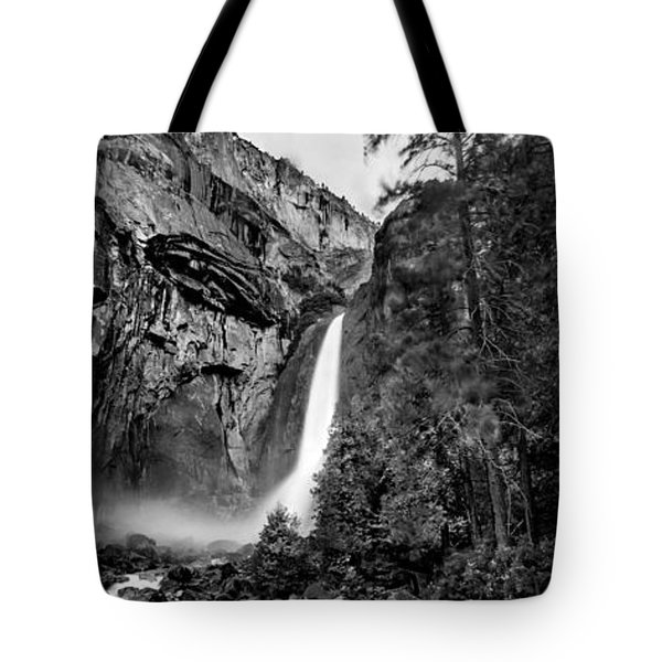 Yosemite Waterfall Bw Tote Bag