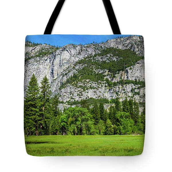 Yosemite West Valley Meadow Panorama #2 Tote Bag