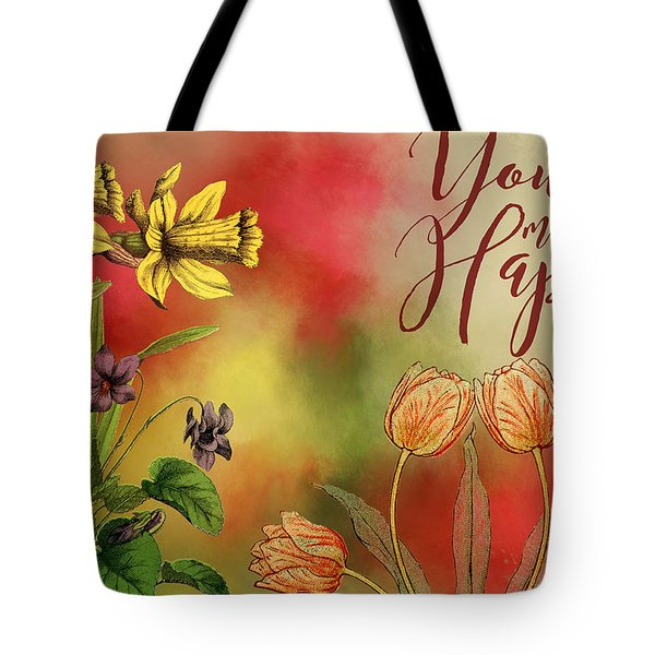 You Make Me Happy Tote Bag by Diana Boyd
