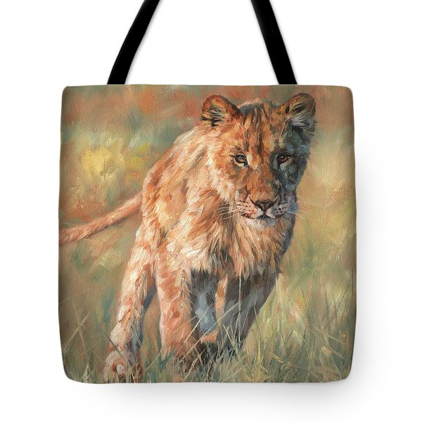 Tote Bag featuring the painting Youn Lion by David Stribbling