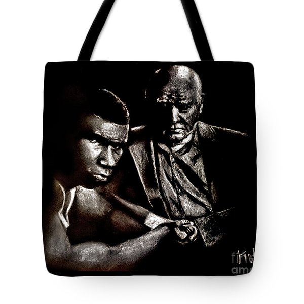 Young Boxer And Soon To Be World Champion Mike Tyson And Trainer Cus Damato Tote Bag