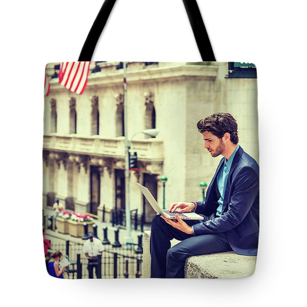 Young Businessman Working On Wall Street In New York Tote Bag