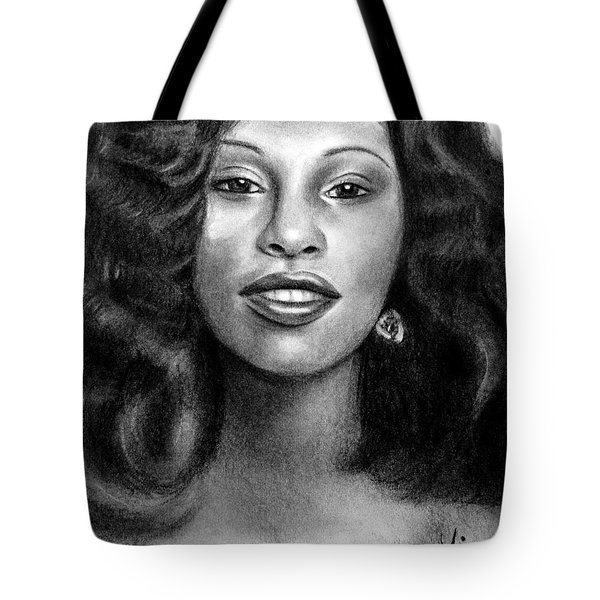 Tote Bag featuring the drawing Young Chaka Khan - Charcoal Art Drawing by Ai P Nilson