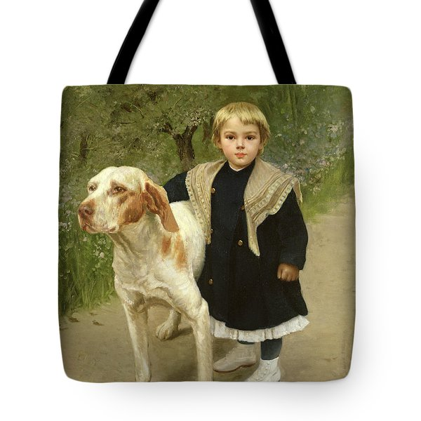 Young Child And A Big Dog Tote Bag