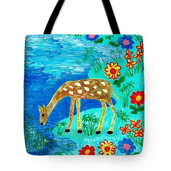 Young Deer Drinking Tote Bag by Sushila Burgess