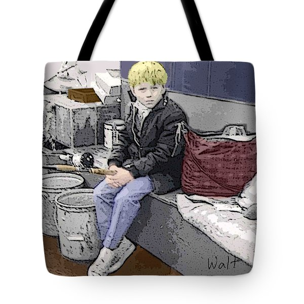 Tote Bag featuring the digital art Young Fisherman by Walter Chamberlain