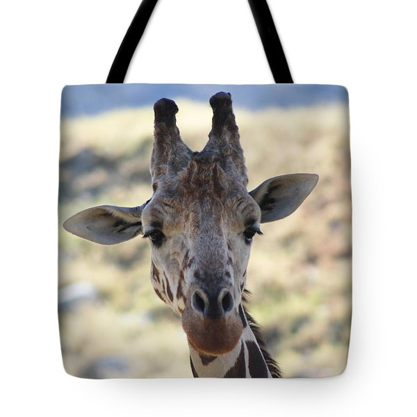 Young Giraffe Closeup Tote Bag by Colleen Cornelius