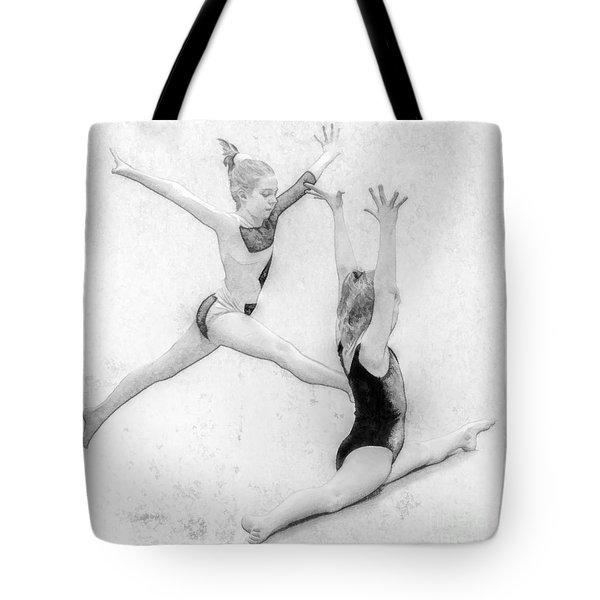 Young Girl Gymnast Tote Bag