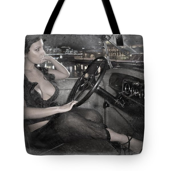 Tote Bag featuring the photograph Young Girl In The Cabin Of An Vintage Car. by Andrey  Godyaykin