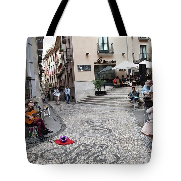 Tote Bag featuring the photograph Young Girl Listening To Guitar - Grenada - Spain by Madeline Ellis