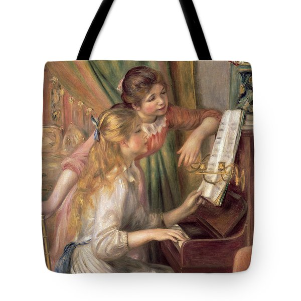 Young Girls At The Piano Tote Bag