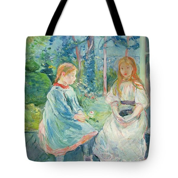 Young Girls At The Window Tote Bag by Berthe Morisot