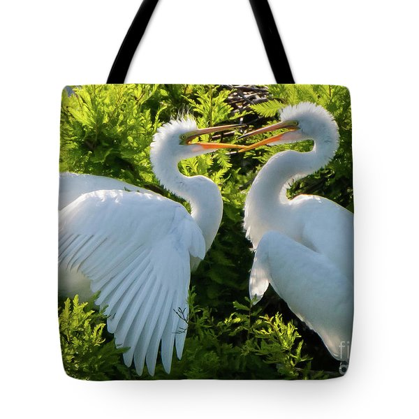 Young Great Egrets Playing Tote Bag