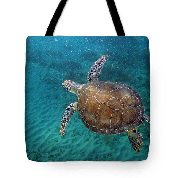 Young Green Turtle Tote Bag by Kimberly Mohlenhoff