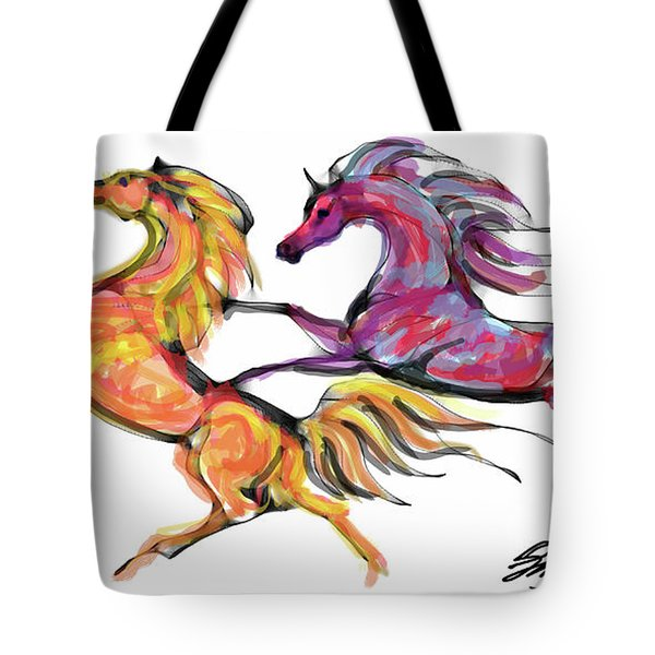 Young Horses Playing Tote Bag