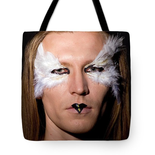 Young Male Model With Make Up Mask Tote Bag