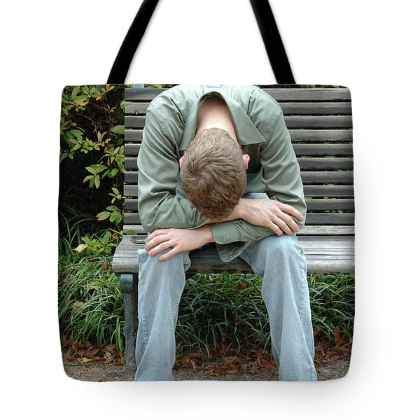 Young Man On Bench Tote Bag