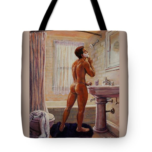 Young Man Shaving Tote Bag