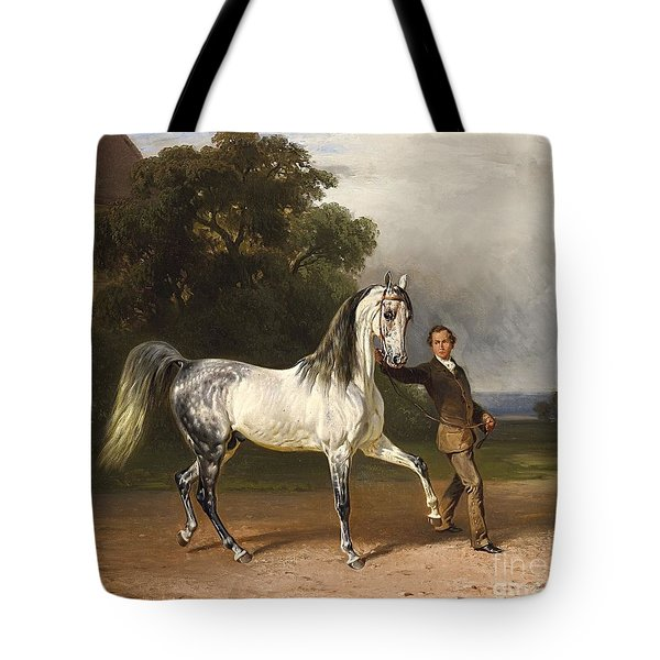 Young Man With A Bareback White Horse Tote Bag