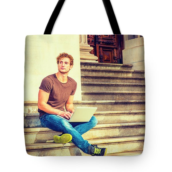 Young Man Working Outside In New York Tote Bag