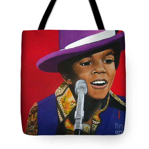 Young Michael Jackson Singing Tote Bag by Chelle Brantley