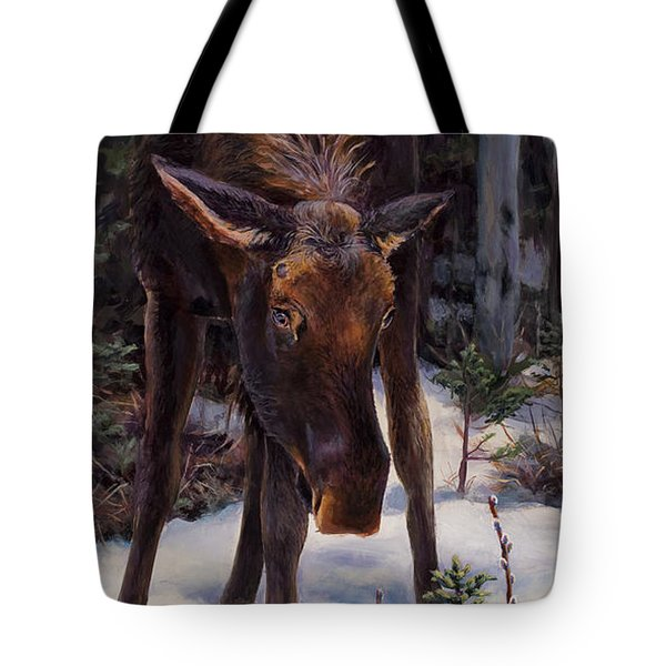 Tote Bag featuring the painting Young Moose And Pussy Willows Springtime In Alaska Wildlife Painting by Karen Whitworth