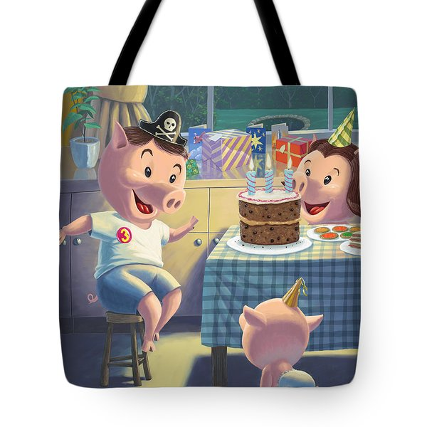 Young Pig Birthday Party Tote Bag