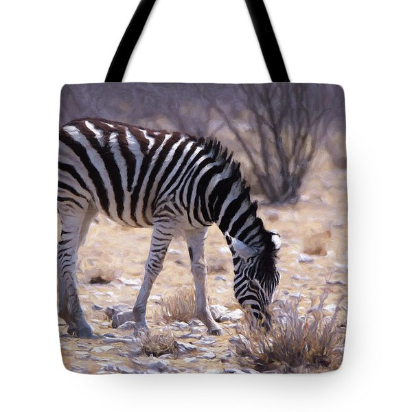 Tote Bag featuring the digital art Young Plains Zebra by Ernie Echols