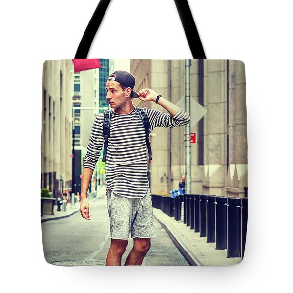 Young Russian Man Traveling In New York Tote Bag