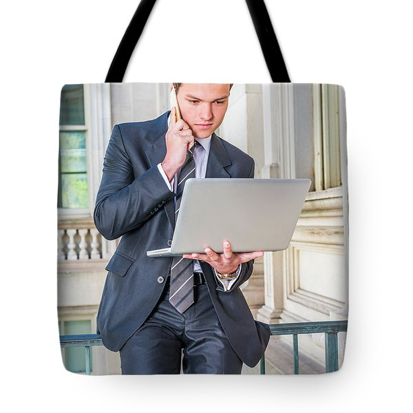 Young School Boy Working Remotely 15042510 Tote Bag