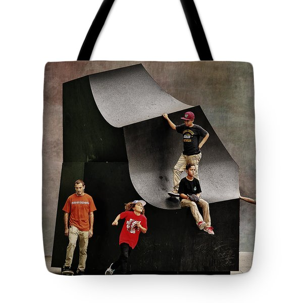 Young Skaters Around A Sculpture Tote Bag