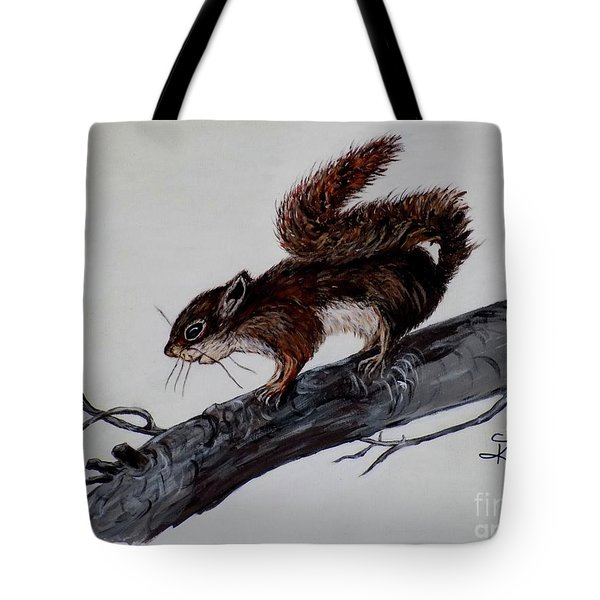 Tote Bag featuring the painting Young Squirrel by Judy Kirouac