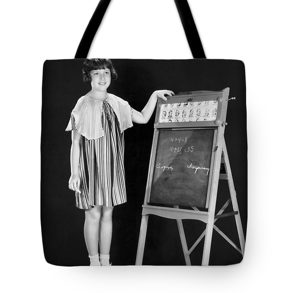 Young Student At Blackboard Tote Bag