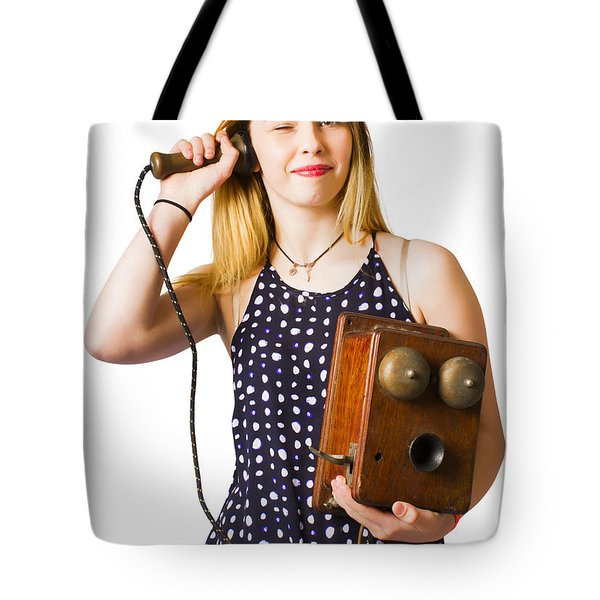 Tote Bag featuring the photograph Young Telephonist Phoning Using Old Vintage Phone by Jorgo Photography - Wall Art Gallery